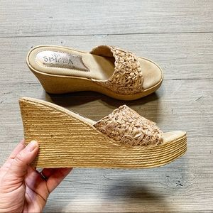 SBICCA| Woven Band Platform Wedge Shoes Size 9